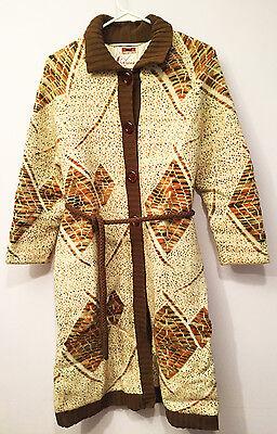 Vtg 70s aztec Jacket knit wool Ivory Womens print cardigan sweater coat M