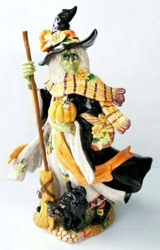 Fitz & Floyd Halloween Harvest Witch and Black Cat RARE RETIRED Figure VERY COOL