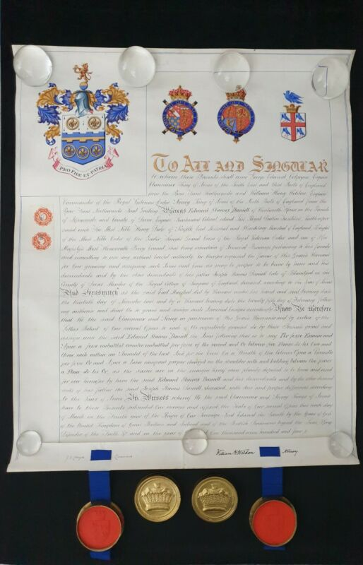 Edward VII Royal Presentation Signed Document Grant Arms Letters Patent Nobility