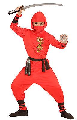 Red Ninja Fighter Kostüm für Kinder NEU - Jungen Karneval Fasching Verkleidung K