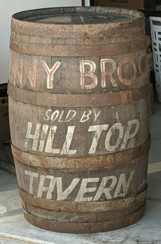 Vintage Advertising Barrel SUNNY BROOK WHISKEY Sold By HILL TOP TAVERN Wood Sign