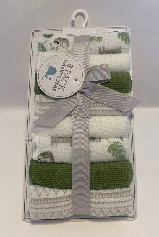 Baby Kiss Sloth Themed Washcloths 8 Pack