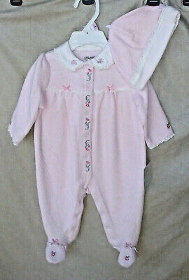 LITTLE ME 100% Cotton Lt Pink CHATEAU ROSE Footie with Hat Girl SIZE 9 MO NWT