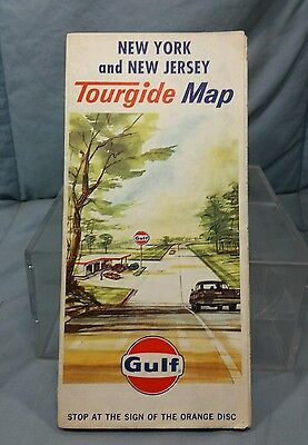 Vintage Gulf Oil Gas Stations NEW YORK NEW JERSEY TOURGUIDE Road Highway Map
