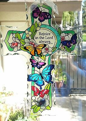 Joan Baker hand painted 10x7 Cross butterfly garden NIB suncatcher