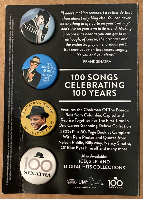 """Frank Sinatra """"Ultimate Sinatra/100 Songs Celebrating 100 Years"""" PROMO buttons"""