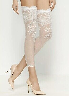 NWT La Perla Bridal Off White Sheer Lace Hosiery / Tights 1 Size , Italy -