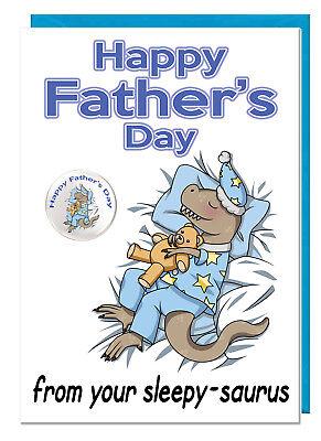 Süß Vatertag Dinosaur Karte & Plakette für Dad Daddy Stiefvater -