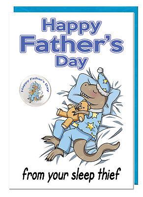 Süß Vatertag Dinosaur Karte & Plakette für Dad Daddy Stiefvater - Schlaf