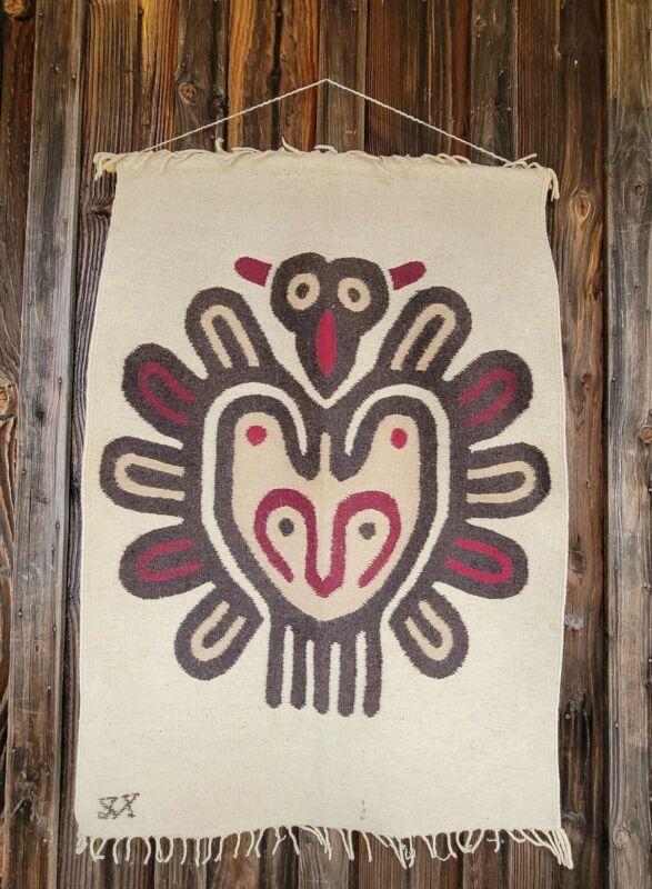 """Vintage tribal Native American wool handmade Wall Hanging 47x32"""" rug tapestry"""