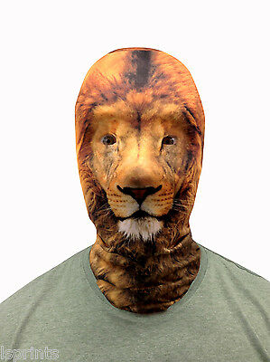 LION FACE 3D EFFECT FACE SKIN LYCRA FACE MASK GRIM REAPER SCARY HALLOWEEN