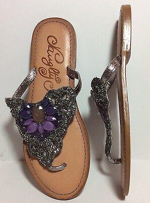 NWOT Naughty Monkey Lilac Dreams Flat  Sandal Thong Jeweled Leather Silver Sz 6 Dreams Thong Sandal