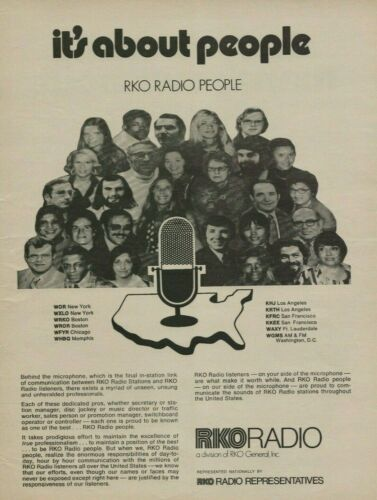 1973 RKO Radio Stations People Photo Vintage Print Ad