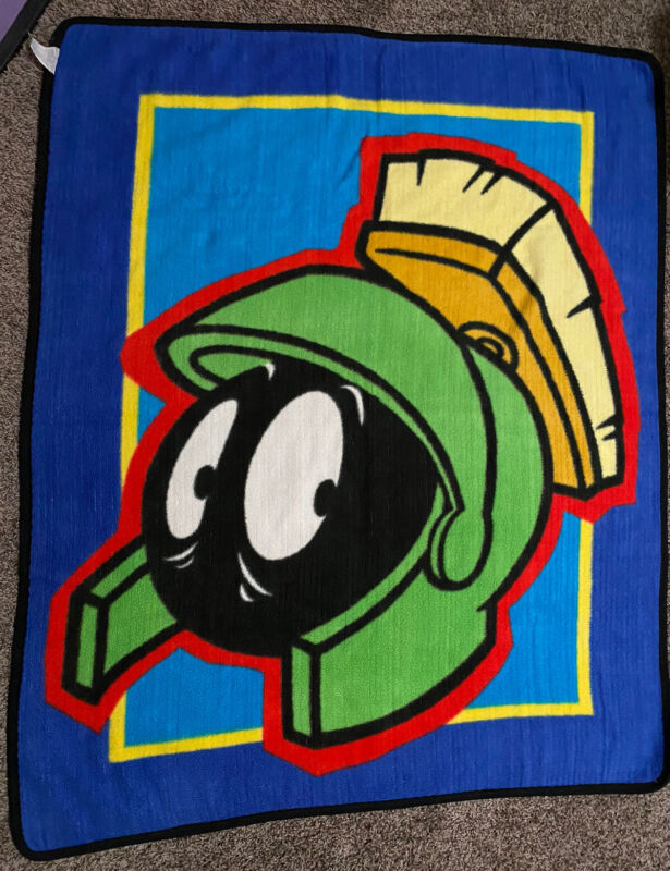 """VTG Marvin The Martian Throw Blanket Warner Bros Looney Tunes 43x52"""" Mexico Made"""