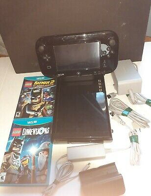 Nintendo Wii U 32GB Console Gamepad Bundle 2 Games Charge Dock Tested Working