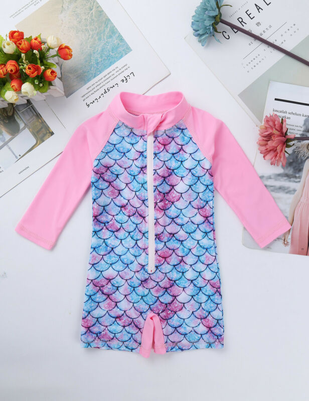 Infant Baby Girls Rash Guard Swimsuit Swimwear Mermaid Fish Scales Bathing Suit