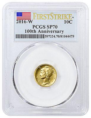 2016-W 1/10 Oz Gold Mercury Dime Centennial PCGS SP70 FS Flag Label SKU40776