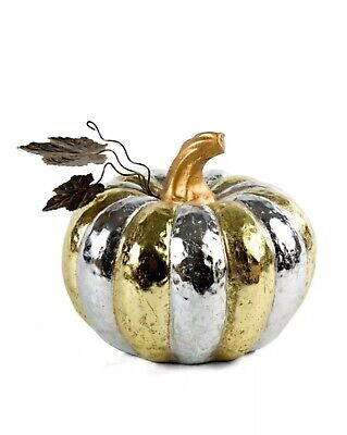 MacKenzie & Childs Silver & Gold Pumpkin Ceramic Medium 8""