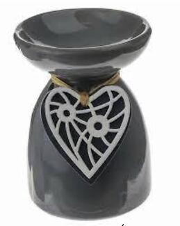 Designer ceramic oil burners with wooden heart pendant