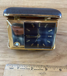 Bulova Vintage Brown And Gold Working Travel Alarm Clock With Night light