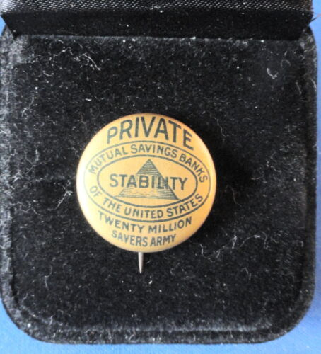 Antique -  Mutual Savings Banks Pinback Button - Whitehead & Hoag - NJ