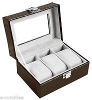 Box Cofanetto Per 3 Orologi Marrone Vetrina Portaorologi -  - ebay.it