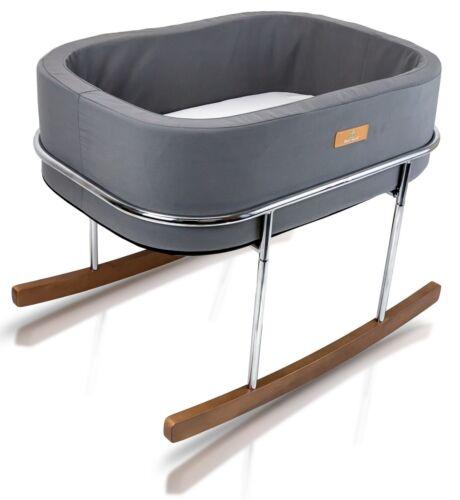 Wonderfold  Modern Design Gentle Rocking Baby Bassinet Cradle Bed Gray NEW