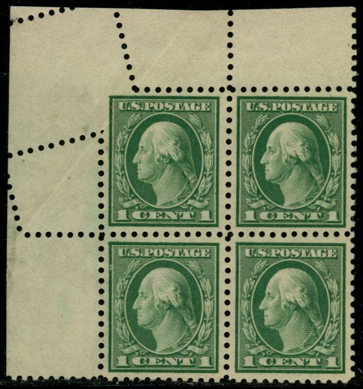 "#498 Var. Blk Of 4, ""1¢ Washington"" With Fold Over Major Error Bq2347"