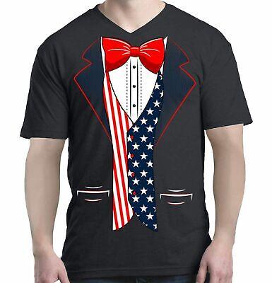 USA Flag Tuxedo Men V-Neck American 4th of July Patriot Costume Shirts](Usa Flag Costume)