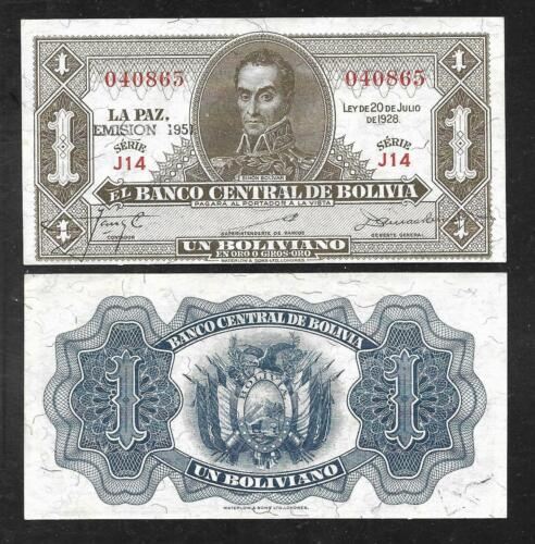 Bolivia - Old 1 Boliviano Note - 1951 - P128b - Uncirculated
