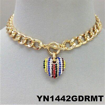 Gold Multi Finish (Multi Color Rhinestones Heart Pendant Gold Finish Cuban Link Toggle Necklace )