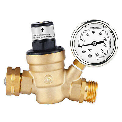 Water Pressure Regulator For RV Lead-free Brass Adjustable Reducer Gauge 3/4
