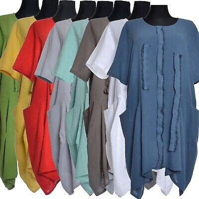 Leinen Maxi Sommer Tunika Kleid Lagenlook Strand 46 48 50 52 54 56 L XL XXL XXXL ()