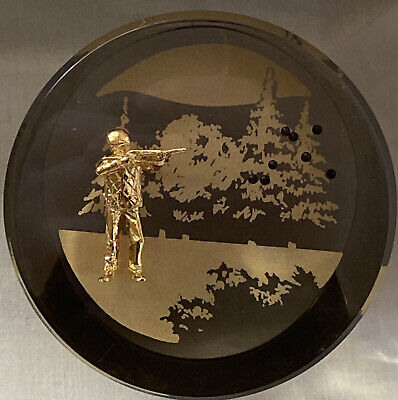 Vintage Art Glass Lucite Resin Paperweight Gold Shooting Man Clay Pigeon
