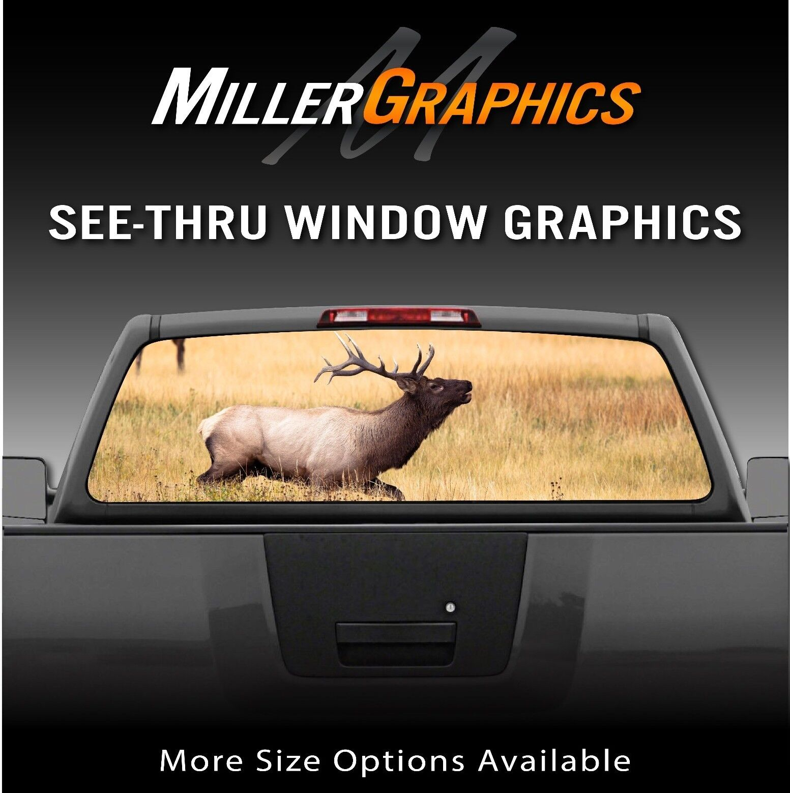 Buck elk field hunting rear window decal graphic for truck suv item description see thru