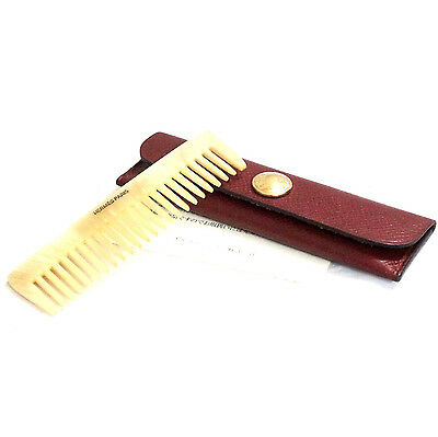 Auth Vintage HERMES Buffalo Horn Beige Hair Comb With Dark Red Leather Case