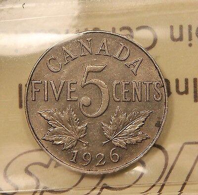 1926 CANADA 5 CENTS AU 50 ICCS   NEAR 6 VARIETY. BV $250