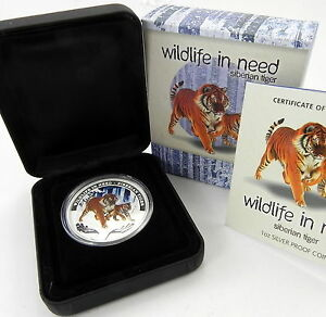 2012 $1 SIBERIAN TIGER Wildlife in Need Silver Proof Coin