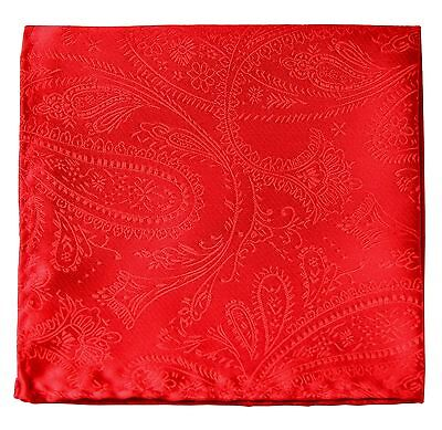 New Men's Polyester Woven pocket square hankie only red paisley prom wedding
