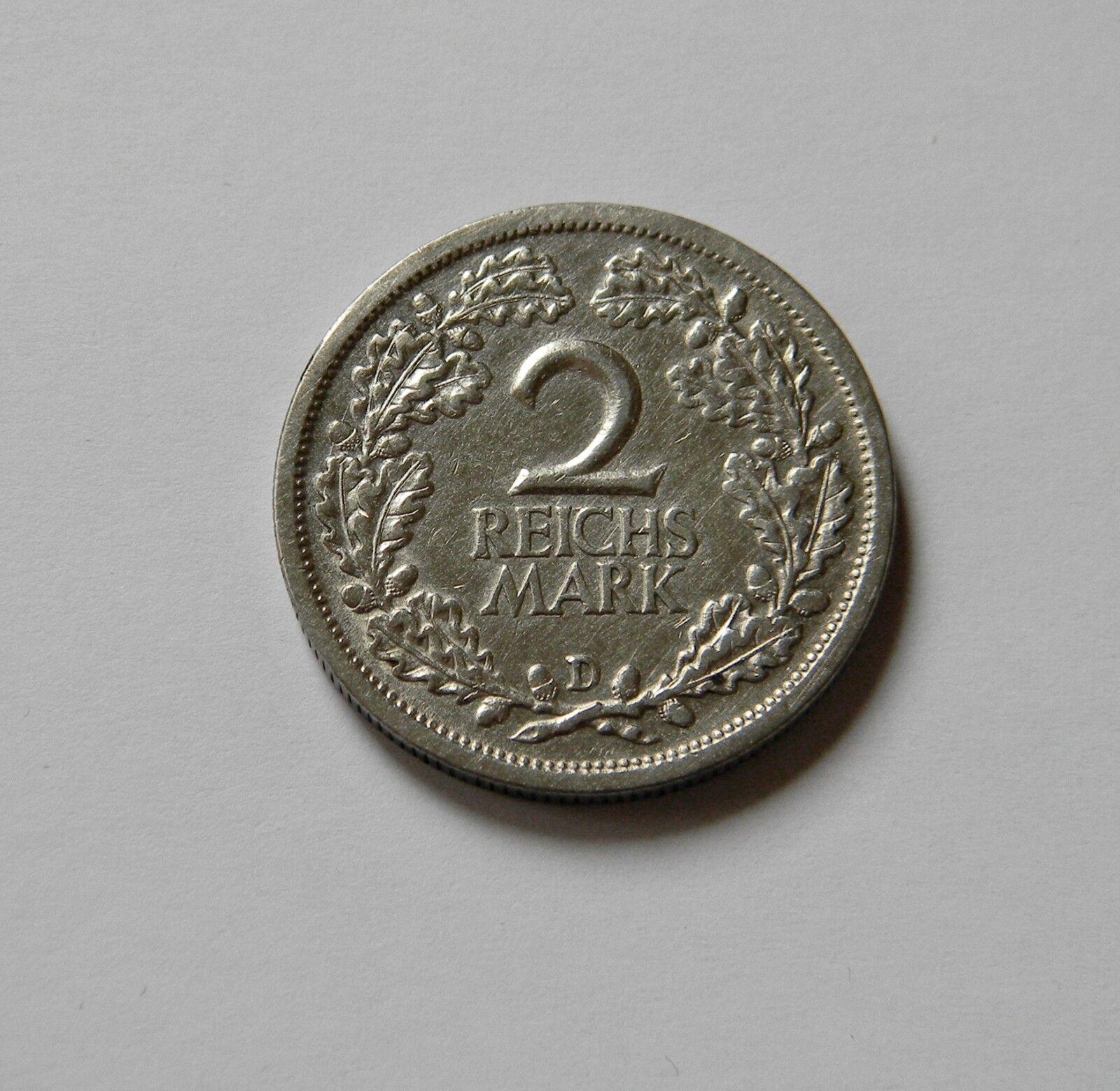 WEIMAR: 2 Reichsmark 1926 D, J. 320, vorzüglich, SELTEN !!!   II.