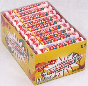 Giant Smarties 36 ct Box Candy Rolls Bulk Candies Fruit Smartie Smarty Roll