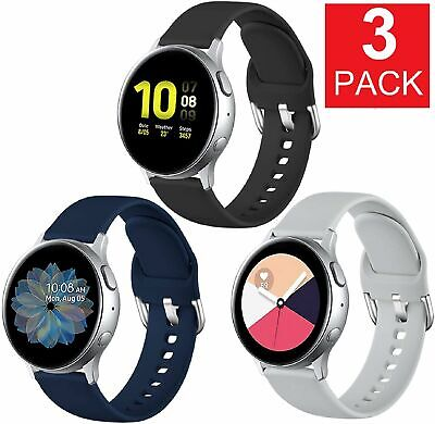 3-Pack For Samsung Galaxy Watch Active 2 40 41 42 44mm Watch Band Silicone Strap Cell Phones & Accessories