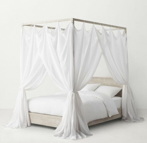 RH Voile Tie-Top Bed Canopy, White-QUEEN for Callum Bed NWT