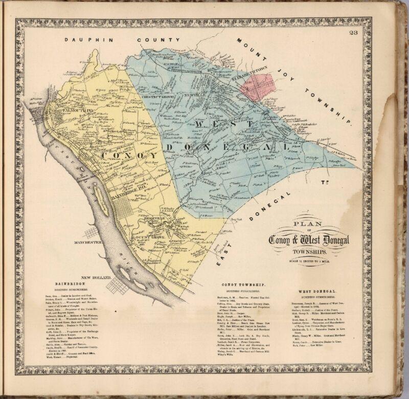 1864 ATLAS LANCASTER COUNTY PENNSYLVANIA map state old GENEALOGY DVD P12