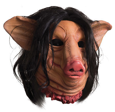 Saw Pig Face Latex Mask Adult Costume Movie Scary Horror Halloween Rubies](Halloween Saw Face)