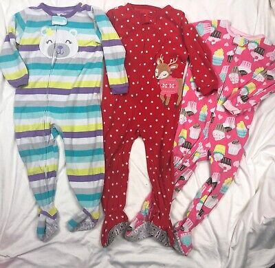Carters Fleece Blanket Sleeper Pajamas + Romper Playwear Lot Girls 3T Christmas Fleece Blanket Sleeper Pajamas