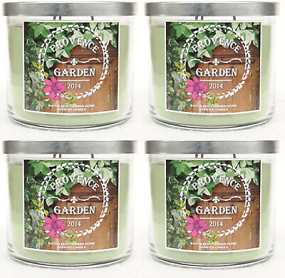 4 Bath & Essentials Works PROVENCE GARDEN 2014 3-Wick Candle 14.5 oz