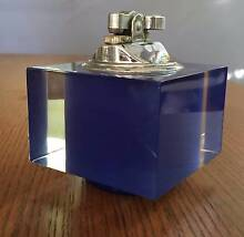 VINTAGE BLUE PLASTIC/LUCITE + CHROME TABLE LIGHTER, GC! Wavell Heights Brisbane North East Preview