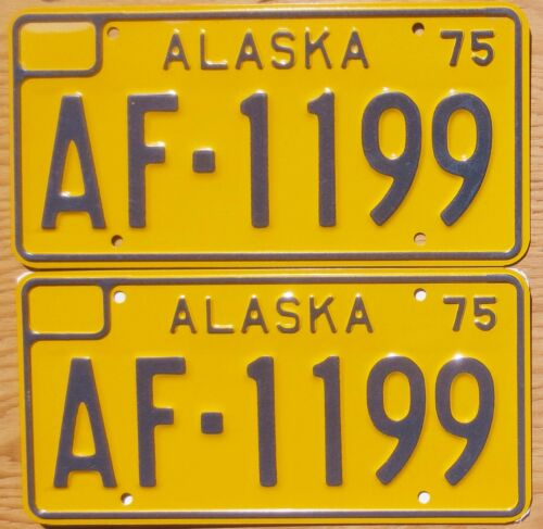 1975 Alaska License Plate Number Tag PAIR Plates - Truck