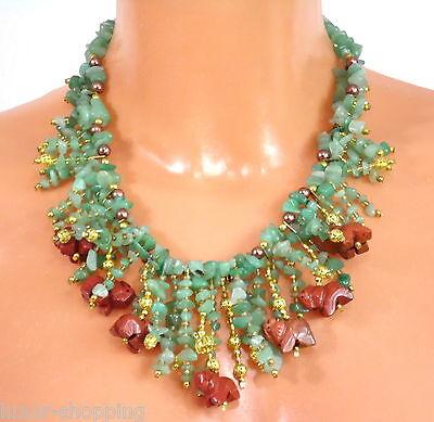 NEU grüne Jade & roter Jaspis Halskette Kette Collier Edelsteinkette Echtschmuck